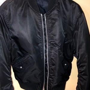 Uniqlo Black bomber jacket reversible navy